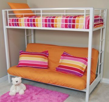 Contemporary bunkbed with futon underneath