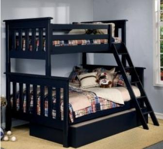 Bunkbeds.net-Slatted twin bunkbed over full