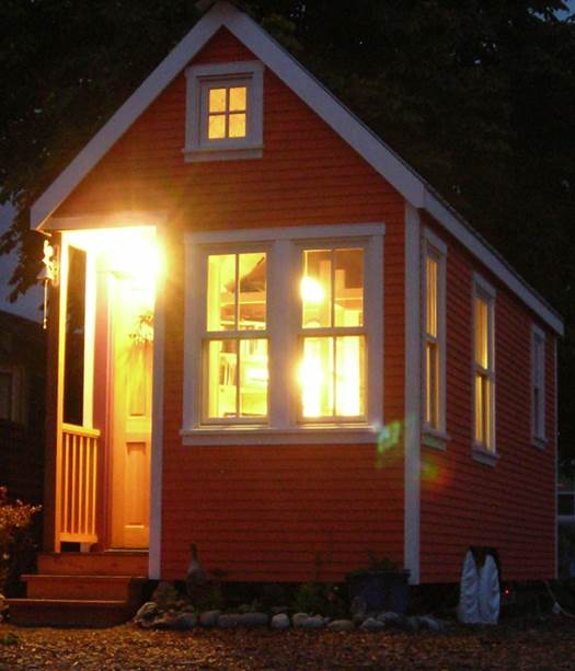 tiny house exterior at night