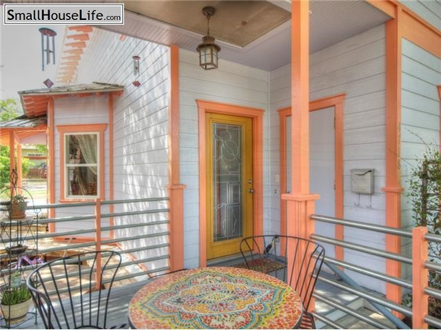 Colorful Back Porch with mosaic table