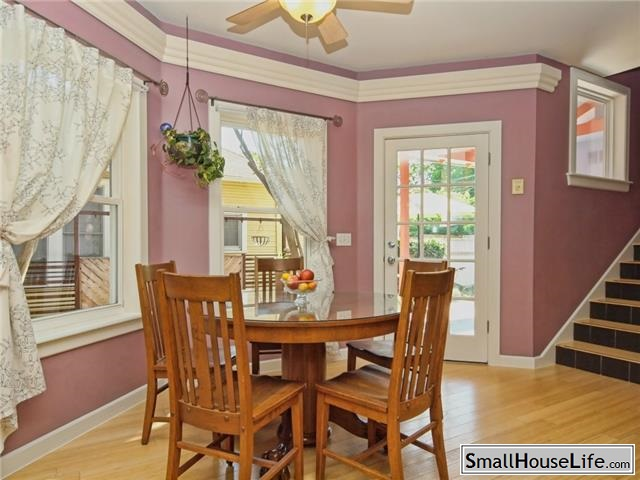Dining Room with Lavender Walls and Lace Curtains