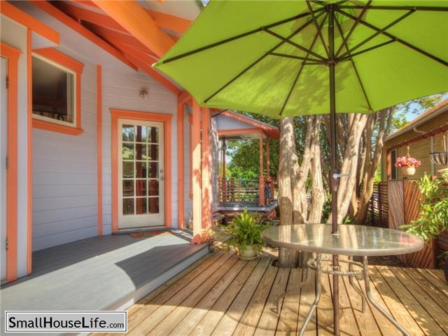White back porch with Peach trim and Lime Green Canopy
