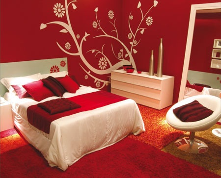Modern Red Small Bedroom